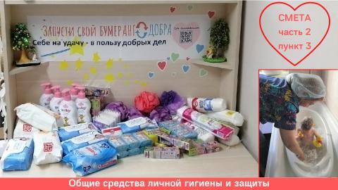 Общие средства личной гигиены и защиты. В запасе: шампуни, мыло, ватные палочки, ватные диски, мочалки, зубная паста. Нет в запасе: гель для душа, одноразовые пелёнки, средства от педикулёза.